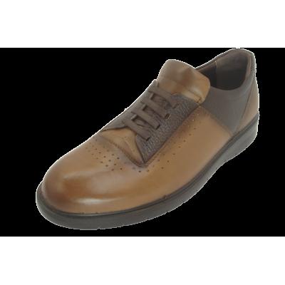 کفش مردانه چرم طبیعی پولیشی رویال بندی عسلی ارسال رایگان با گارانتی