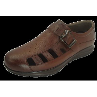 کفش مردانه چرم طبیعی  تابستانی طبی آتا عسلی ارسال رایگان با گارانتی