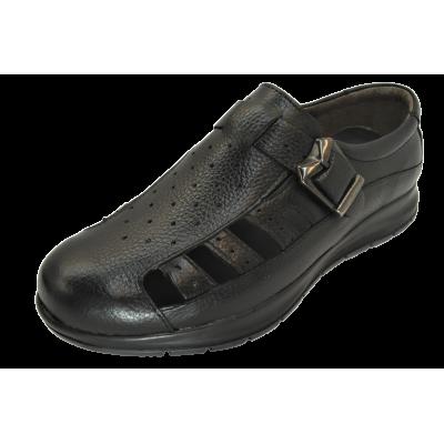 کفش مردانه چرم طبیعی  تابستانی طبی آتا مشکی ارسال رایگان با گارانتی