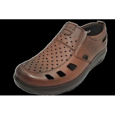 کفش مردانه چرم طبیعی  تابستانی آیسان عسلی ارسال رایگان با گارانتی