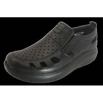 کفش مردانه چرم طبیعی  تابستانی آیسان مشکی ارسال رایگان با گارانتی