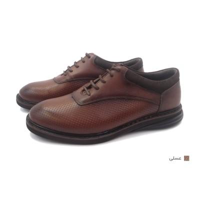 کفش مردانه چرم طبیعی آتیلا عسلی  ارسال رایگان با گارانتی