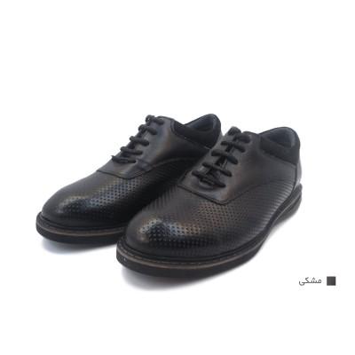کفش مردانه چرم طبیعی آتیلا مشکی  ارسال رایگان با گارانتی