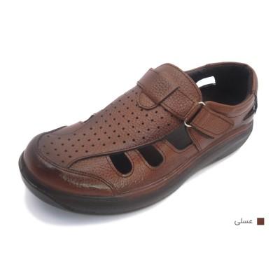کفش مردانه چرم طبیعی تابستانی چسبدار عسلی ارسال رایگان با گارانتی