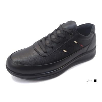 کفش مردانه چرم طبیعی مارکو بندی مشکی  ارسال رایگان با گارانتی