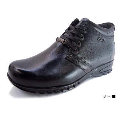کفش مردانه چرم طبیعی نیم بوت بندی مشکی  ارسال رایگان با گارانتی