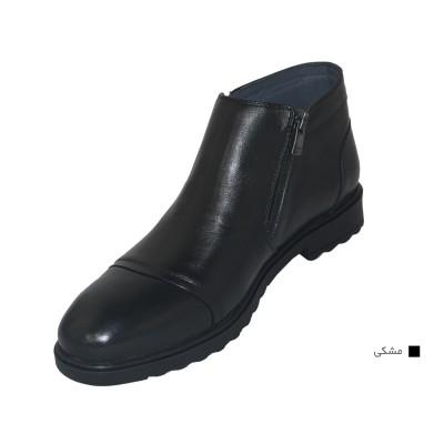 کفش مردانه چرم طبیعی نیم بوت کوشا مشکی  ارسال رایگان با گارانتی
