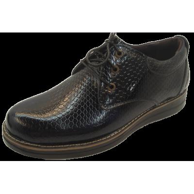کفش مردانه چرم طبیعی ورنی سرمه ای ارسال رایگان با گارانتی